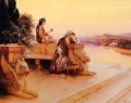 Ernst Rudolf - Elegant Arab Ladies on a Terrace at Sunset