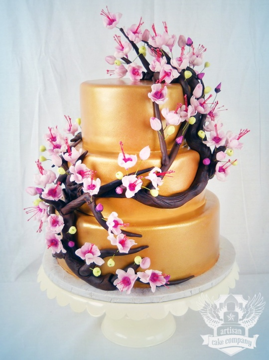 cherry_blossom_gold_pink_baby_shower_cake