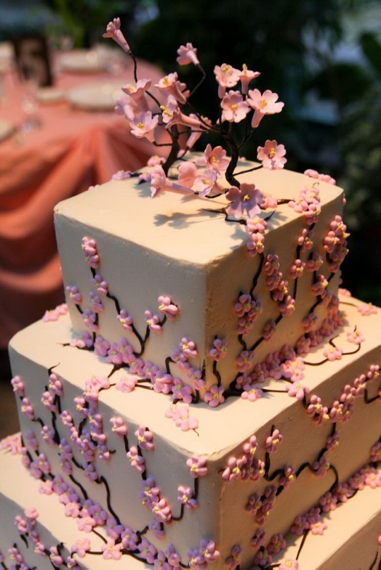 fluffy_thoughts_pink_cherry_blossom_wedding_cake