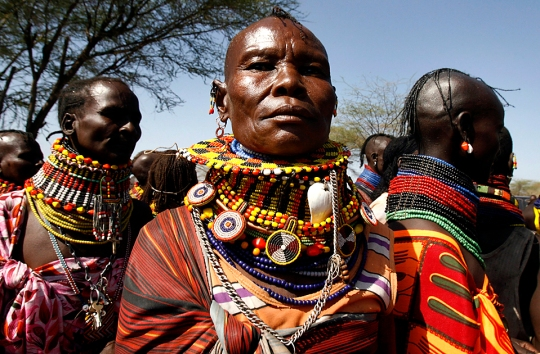 Turkana women attend a drought and peace meeting in Lobei village of Turkana district in northwest Kenya