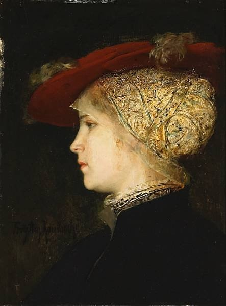 a-portrait-of-a-young-woman-in-profile-with-a-red-hat