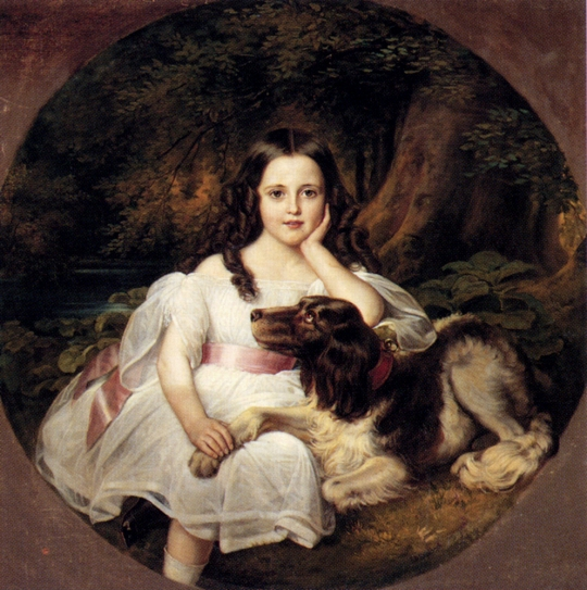 A Young Girl Resting in A Landscape