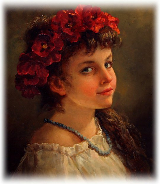 Andrei Shishkin - A girl in a poppy wreath