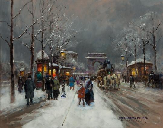 edouard_leon_cortes_arc_de_triomphe_neige