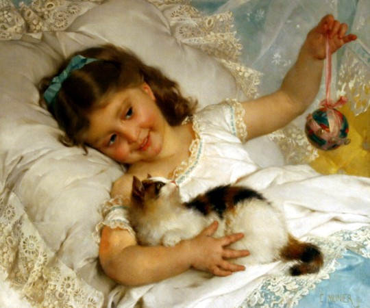 emile munier Girl with Doll