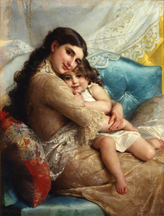 Emile Munier - Portret of a mother & daughter