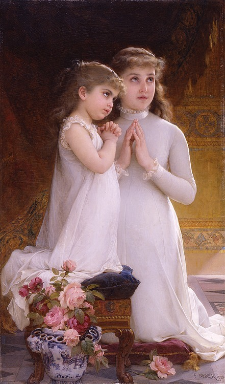 Emile Munier - Two girls praying