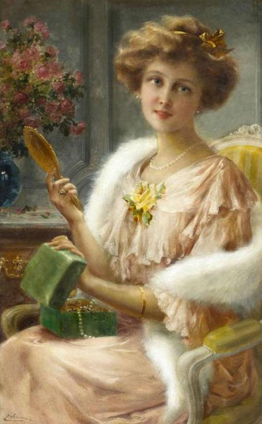 Emile Vernon - A young lady with a mirror