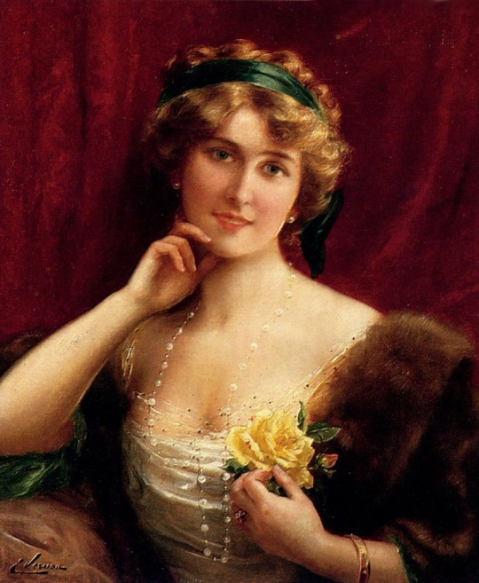 Emile Vernon - An Elegant Lady with a yellow rose