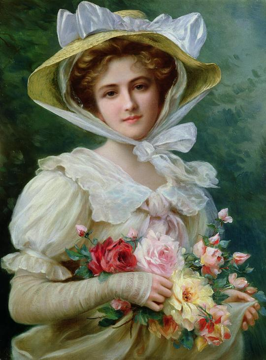 Emile Vernon - Elegant-lady-with-a-bouquet-of-roses