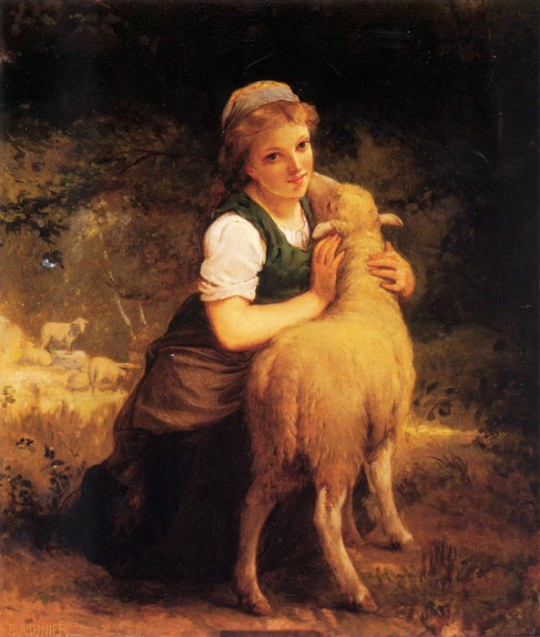 Emile_Munier_Young girl with lamb