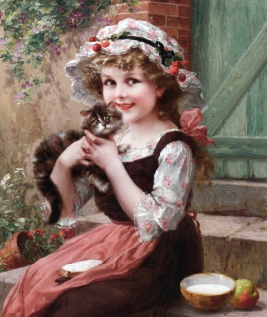 Emile_Vernon - little child with a cat