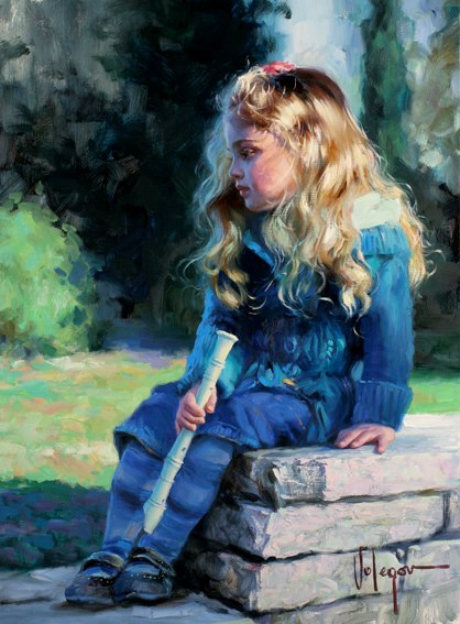 Girl and flute