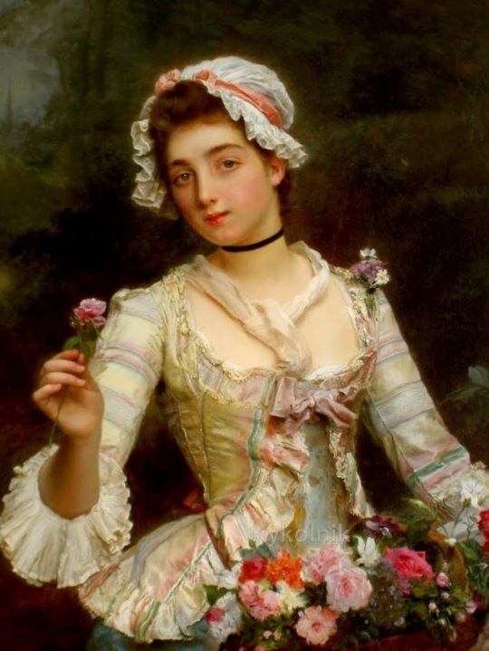 Gustave Jean Jacquet (French, 1846-1909) Young woman with flowers