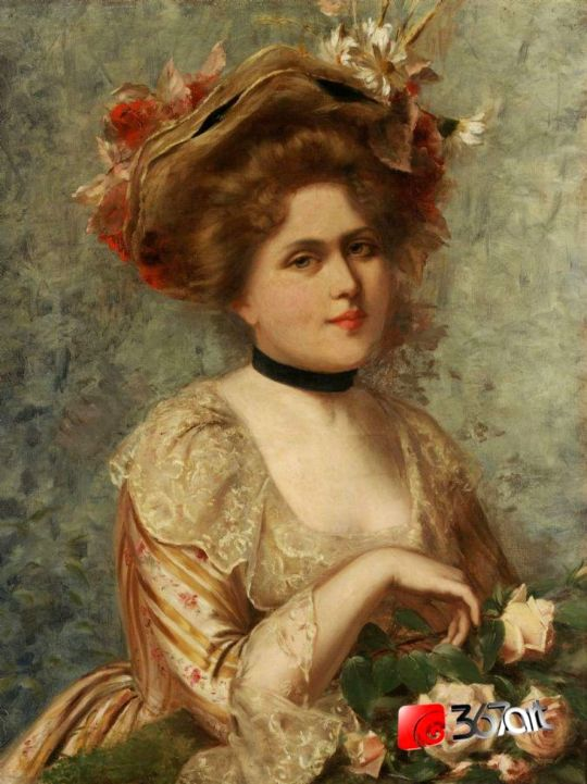 Gustave Jean Jacquet - Lady with roses