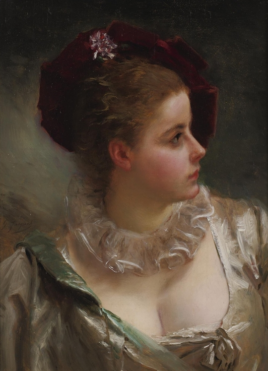 gustave jean jacquet - Young Beauty with Red Hat