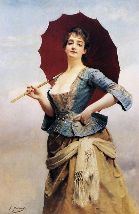JEAN GUSTAVE JAQUET - Uma dama com sombrinha - Óleo sobre tela