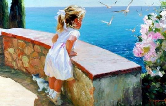 niñas en el mar pintadas al oleo sobre lienzo (3)