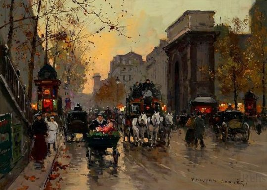 Porte-St-Martin-Edouard-Leon-Cortes-100-Hand-Painted-Oil-Painting-Repro-Museum-Quality-Gift