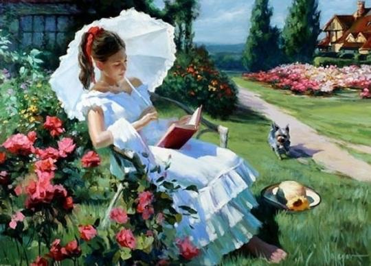 Vladimir Volegov  - Femeie citind in mijlocului naturii