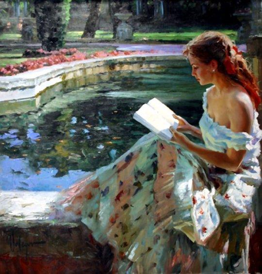 Vladimir Volegov - Femeie citind pe marginea lacului