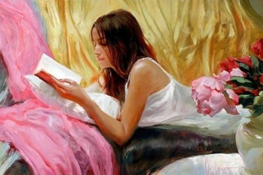 Vladimir Volegov - Femeie citind pe sofa