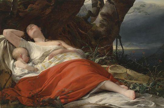 Sleeping fisherwoman