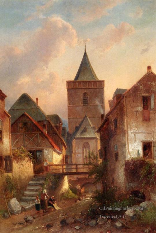 5-View-In-A-German-Village-With-Washerwomen-landscape-Charles-Leickert