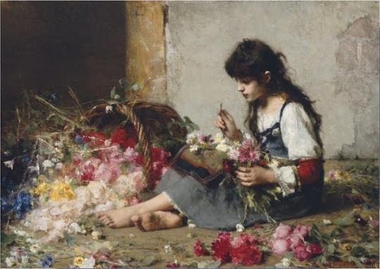 Alexei Alexeievich Harlamoff (or Alexej Harlamoff - Alexej Charlamoff) (Russian painter, c 1840–1925) A flower seller