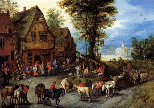Breughel-Jan-A-Village-Street-With-The-Holy-Family-Arriving-At-An-Inn-Jean-Antoine-Watteau-Rococo