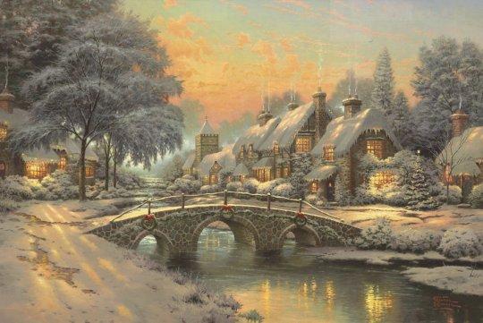 christmas-tree-town-houses-paintings-thomas-kinkade-thomas-kinkade