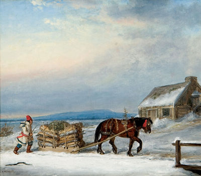 House_and_Sleigh_in_Snow',_oil_painting_by_Cornelius_Krieghoff