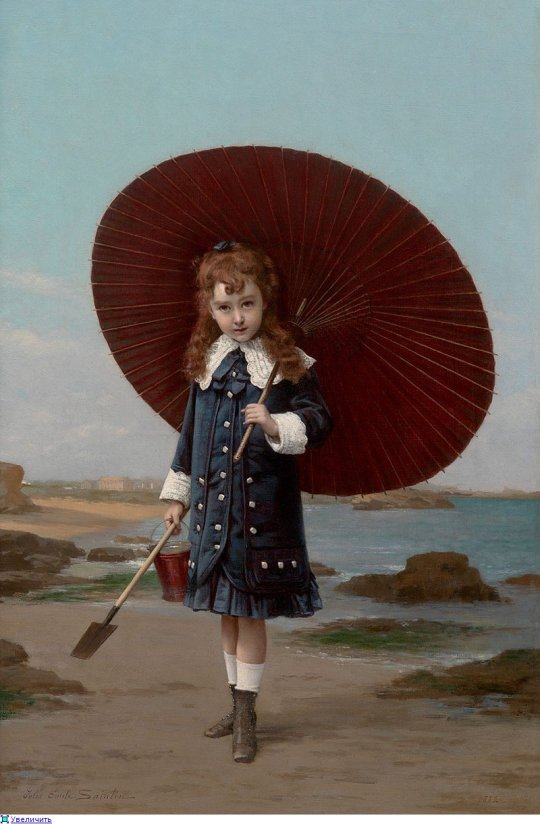 Jules Emile Saintin (1829-1894) Little Girl with Umbrella
