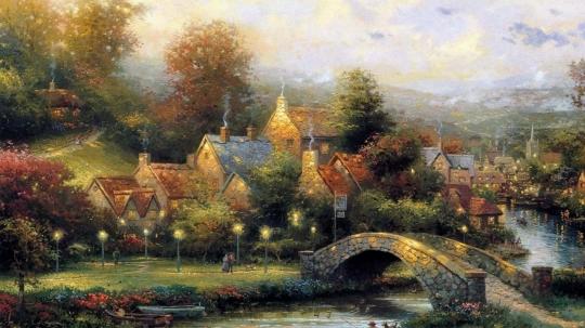 paintings_nature_trees_houses_artwork_village_thomas_kinkade_rivers