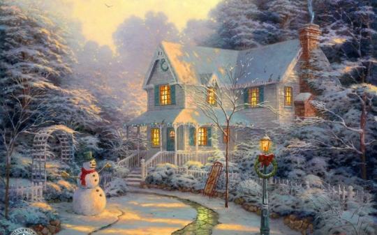 snowmen thomas kinkade