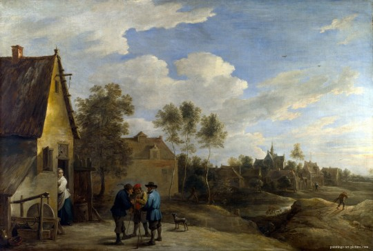 TENIERS-David-the-Younger-A-View-of-a-Village-Painting-
