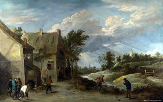 TENIERS-David-the-Younger-Peasants-playing-Bowls-outside-a-Village-Inn-Painting-
