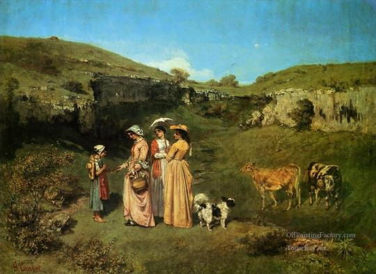 The-Young-Ladies-of-the-Village-Realist-Realism-painter-Gustave-Courbet