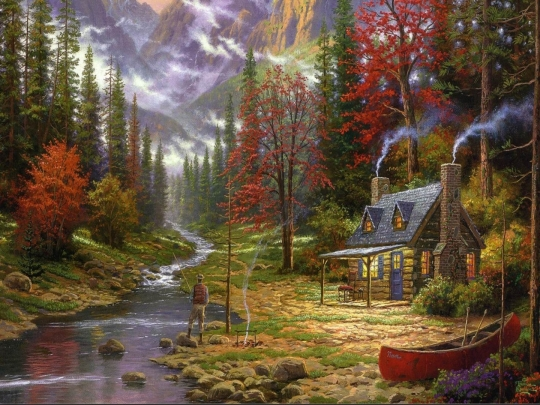 Thomas-kinkade-mountain-river-fisherman