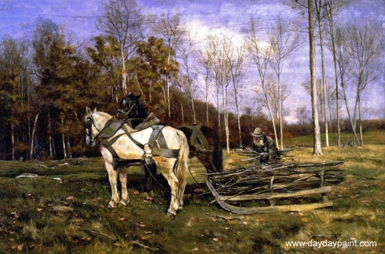 Village-Oil-Paintings-The-Wood-Gatherer