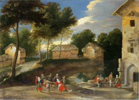 village_landscape_people_dancing_painting_a_Jacques