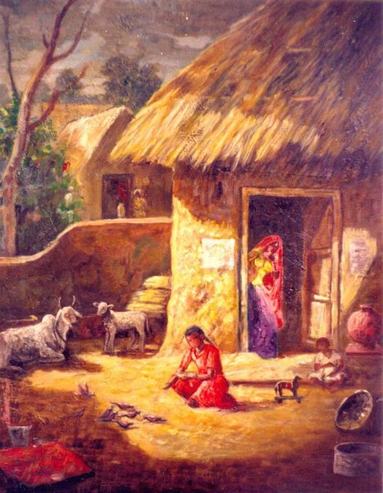 villages_india_paintings_women_buffalo_nature_hut_street_agriculture_farmers_