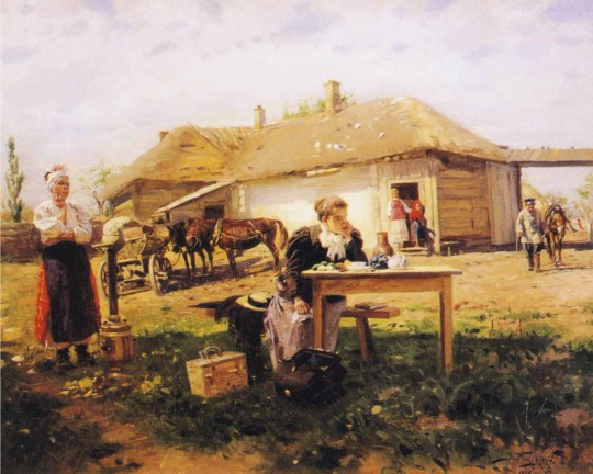 Vladimir-Yegorovich-Makovsky-xx-Teacher-Visiting-a-Village-xx-Private-Collection