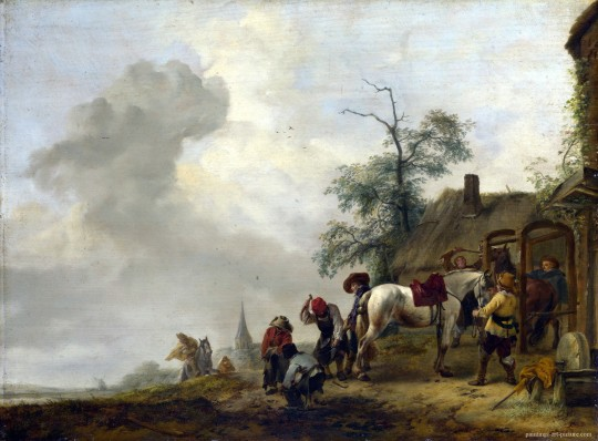 WOUWERMAN-Philips-A-Horse-being-Shod-outside-a-Village-Smithy