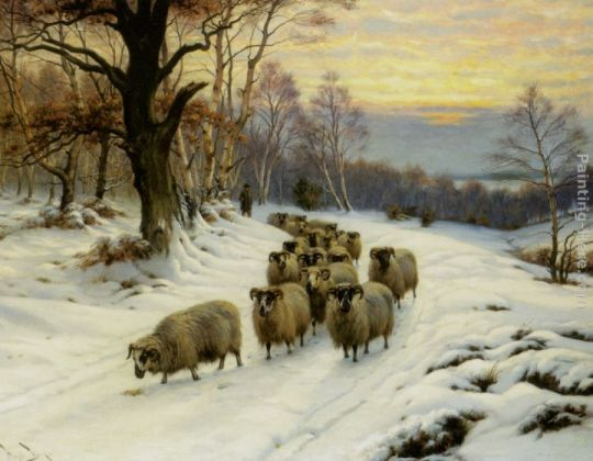A Shepherd and his Flock on a Path in Winter