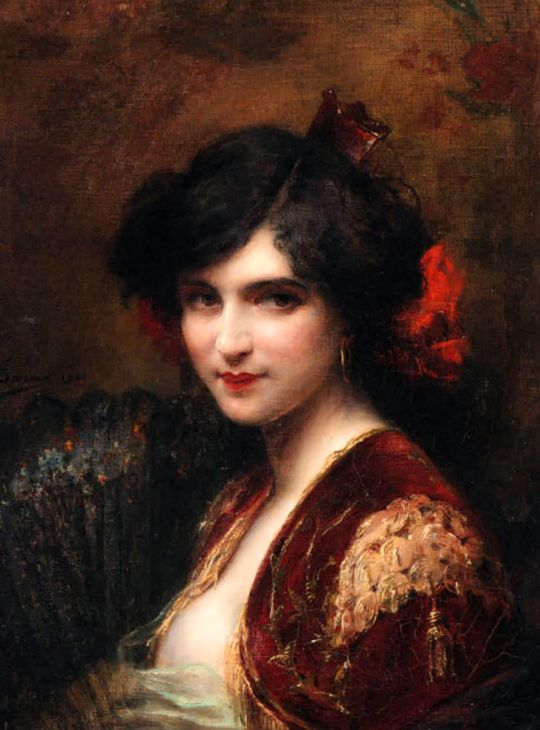 Adrien Henri Tanoux (1865-1923) Portrait of a Spanish Lady