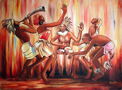 african-art-oil-painting
