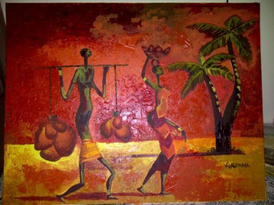 African-painting-bright-coloured-oil-painting-Tambaram-Sanatorium