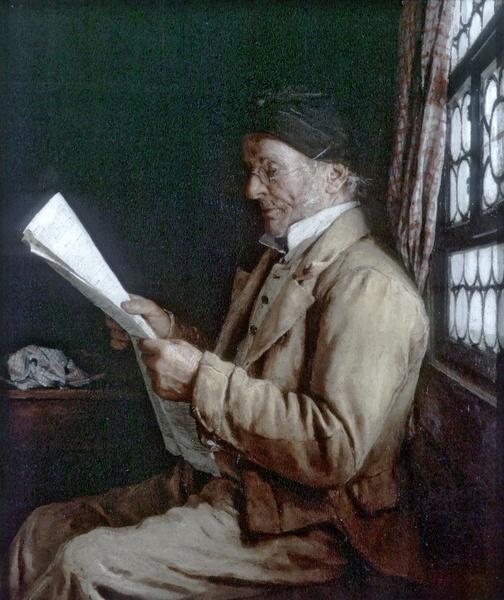 Albert Anker - Die Zeitung lesend. 1881
