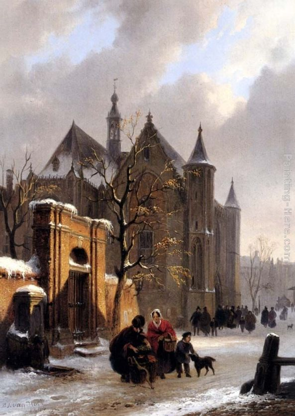 Bartholomeus Johannes Van Hove - A Capricio View With Figures Leaving A Church In Winter